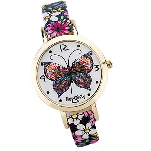 LI&HI Retro Unique Damen Neue Uhren PU Schmetterling Dial Armbanduhr Quarz uhr Anhaenger Lederarmband Uhr Top Watch Valentinstag