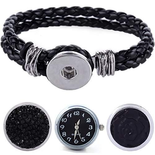 Morella® Damen Armband geflochten mit 3er Click-Button als Set Druckknopf Uhr und Strass schwarz