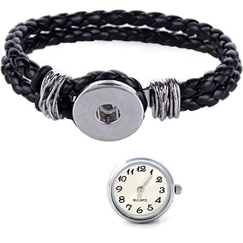Morella® Damen Click-Button Set geflochtenes Armband schwarz und Druckknopf Uhr weiss