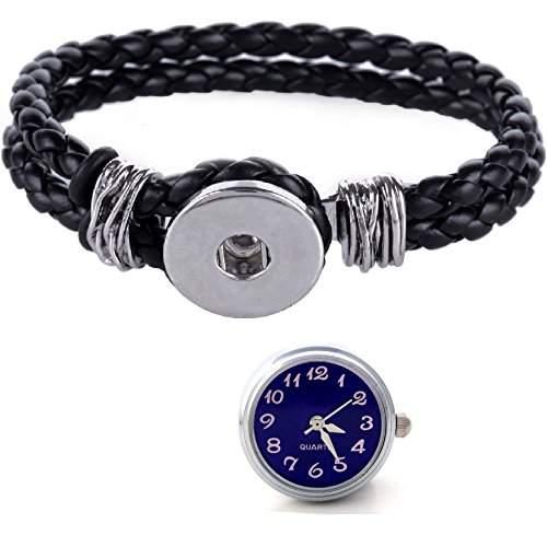Morella® Damen Click-Button Set geflochtenes Armband schwarz und Druckknopf Uhr blau