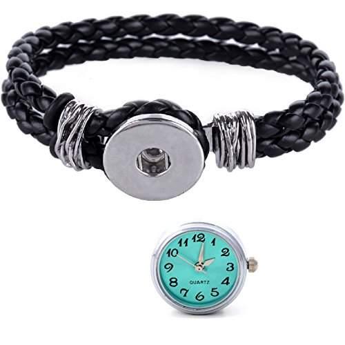 Morella® Damen Click-Button Set geflochtenes Armband schwarz und Druckknopf Uhr tuerkis