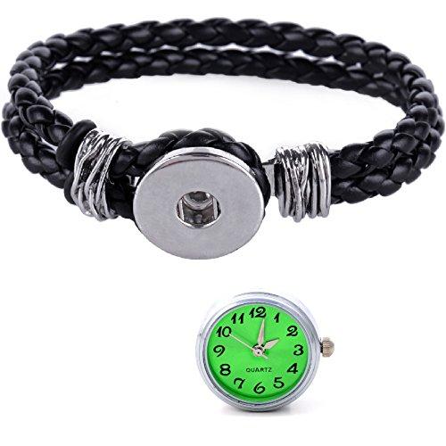 Morella Damen Click Button Set geflochtenes Armband schwarz und Druckknopf Uhr gruen