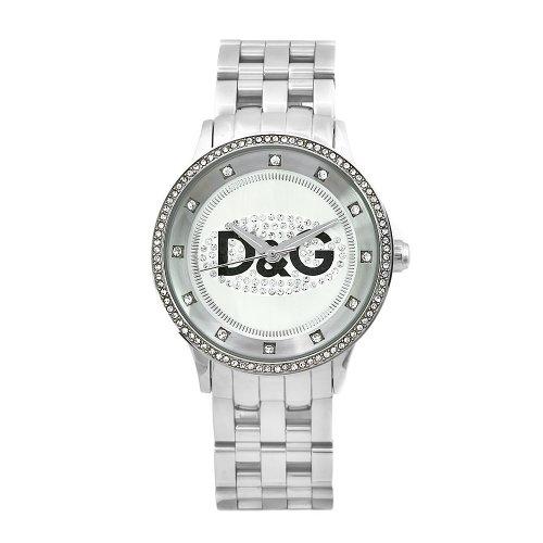 D G Dolce Gabbana Damen DW0145 Prime Time Edelstahl Kristall Zifferblatt