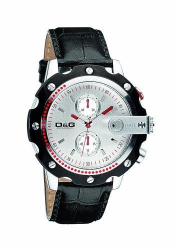 D G Dolce Gabbana SEAN CHR SS BLK BEZEL SLV DIAL BLK STRAP DW0366