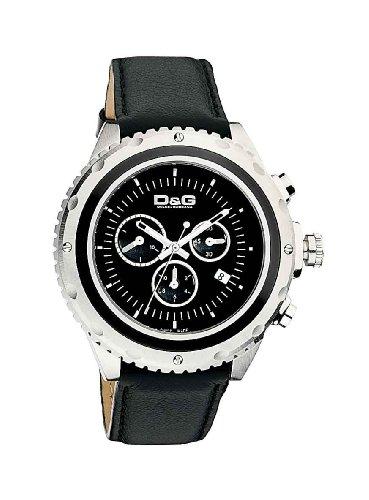 D G Dolce Gabbana SIR CHR SS BLK DIAL BLK LEATHER STRAP DW0367