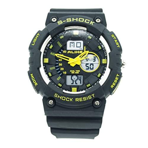 ALIKE AK1499 Unisex Outdoor Sports Armbanduhr Wasserdicht Stossfest Dual Time Digital Analog Quartz Uhr Multifunktionsuhr mit Hintergrundbeleuchtung Display - Gelb