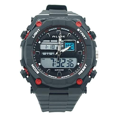 ALIKE AK1275 Jungen Herren Armbanduhr Wasserdicht Dual Time Digital Analog Quartz Uhr Spotsuhr Multifunktionsuhr mit Hintergrundbeleuchtung Display