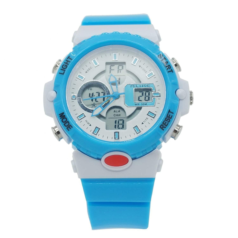 ALIKE AK14102 Maedchen Jungen Armbanduhr Wasserdicht Digital Analog Quartz Uhr Spotsuhr Multifunktionsuhr mit Hintergrundbeleuchtung Display & Dual Time Funktion - Blau