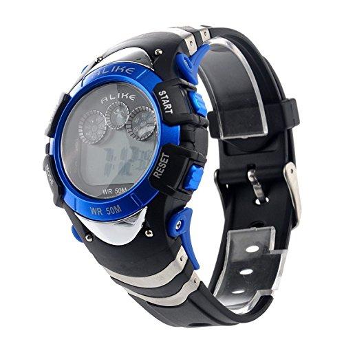 Multifunktion Armbanduhr ALIKE Multifunktion Kinderuhr Elektronische Sportuhr NachtArmbanduhr fuer Jungen Maedchen blau