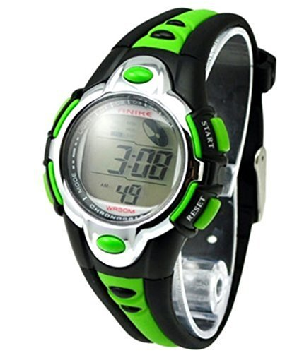 Flash Lights 50 m Wasserdicht Chronograph Digital Jungen Maedchen Sport Armbanduhr Alarm Gruen