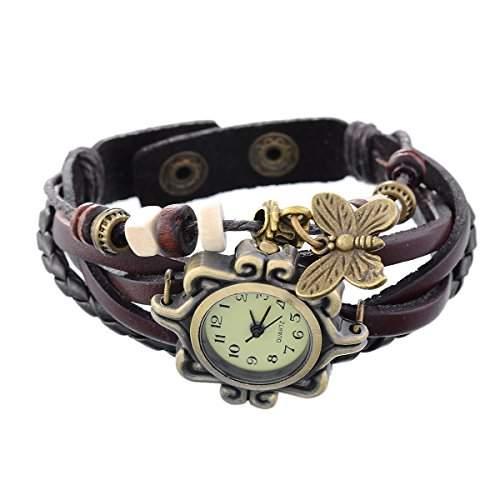 8Years R und Leder um Armband Lady Armbanduhr Quarzuhr