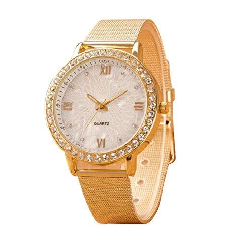 Ukamshop luxus Diamant Frauen mische Ziffern Gold Runde Quarz Edelstahl Armbanduhr