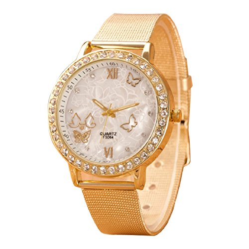 Ukamshop luxus Diamant Frauen Kristall Schmetterling Gold Runde Quarz Edelstahl Armbanduhr