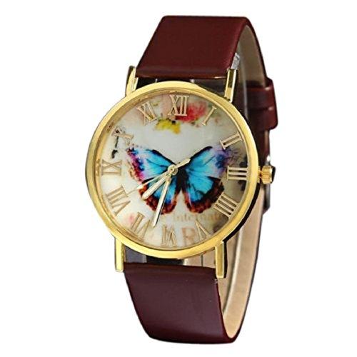 Ukamshop retro Schmetterling PU Lederband Quarz Armbanduhr braun