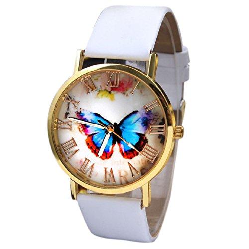 Ukamshop retro Schmetterling PU Lederband Quarz Armbanduhr weiss