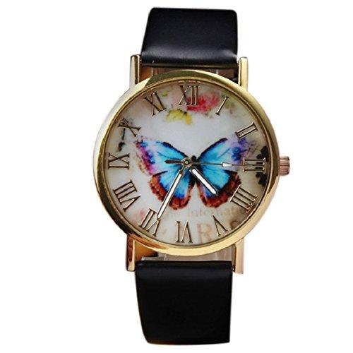 Ukamshop retro Schmetterling PU Lederband Quarz Armbanduhr schwarz