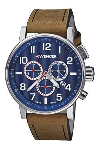 WEGNER Unisex-Armbanduhr 010343101 WENGER ATTITUDE CHRONO Analog Quarz Leder 010343101 WENGER ATTITUDE CHRONO