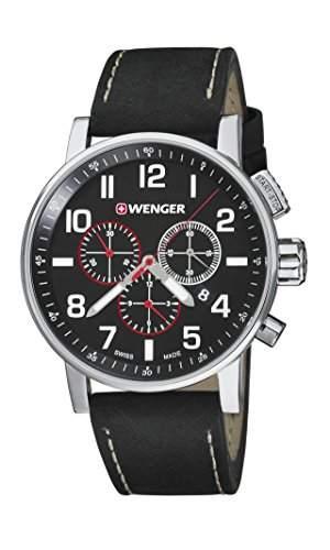 WEGNER Unisex-Armbanduhr 010343102 WENGER ATTITUDE CHRONO Analog Quarz Leder 010343102 WENGER ATTITUDE CHRONO