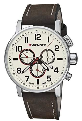 WEGNER Unisex-Armbanduhr 010343103 WENGER ATTITUDE CHRONO Analog Quarz Leder 010343103 WENGER ATTITUDE CHRONO