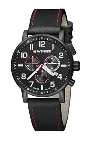 WEGNER Unisex-Armbanduhr 010343104 WENGER ATTITUDE CHRONO Analog Quarz Leder 010343104 WENGER ATTITUDE CHRONO