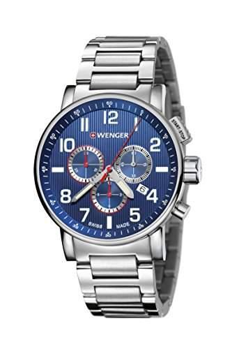 WEGNER Unisex-Armbanduhr 010343106 WENGER ATTITUDE CHRONO Analog Quarz Edelstahl 010343106 WENGER ATTITUDE CHRONO