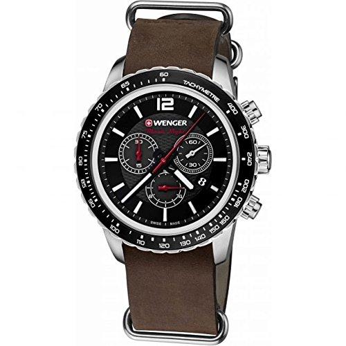 WEGNER Unisex Armbanduhr 01 0853 106 ROADSTER BLACK NIGHT CHRONO Analog Quarz Leder 01 0853 106 ROADSTER BLACK NIGHT CHRONO