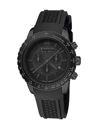 WEGNER Unisex Armbanduhr 01 0853 111 ROADSTER BLACK NIGHT CHRONO Analog Quarz Kautschuk 01 0853 111 ROADSTER BLACK NIGHT CHRONO