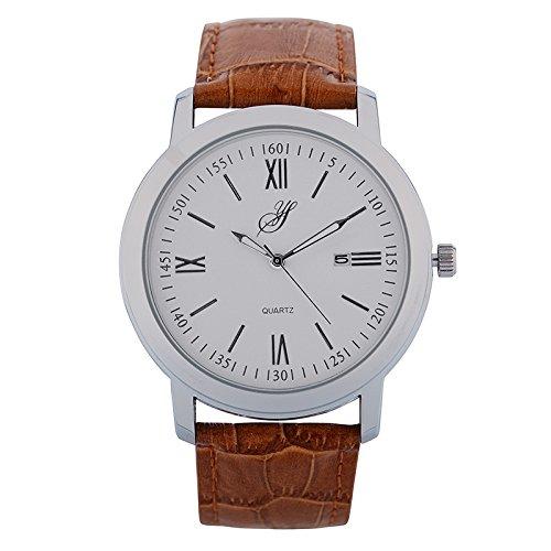 Jean Bellecour S0036 1 Armbanduhr Quarz Analog Weisses Ziffernblatt Armband Leder braun