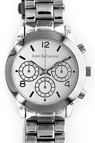 Jean Bellecour reds11 sw Armbanduhr Quarz Analog Weisses Ziffernblatt Armband Stahl versilbert