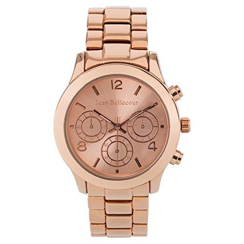 Jean Bellecour reds9 mit Techni Damen Armbanduhr 045J699 Analog weiss Armband Gold Pink Rosa