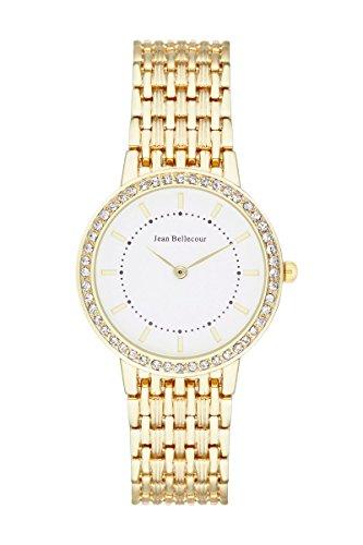 Jean Bellecour reds15 Sophie Damen Armbanduhr 045J699 Analog weiss Armband Gold Gelb Gold