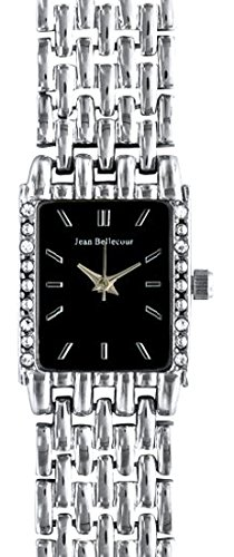Jean Bellecour reds24 sb Damen Armbanduhr Quarz Analog Zifferblatt schwarz Armband Stahl versilbert