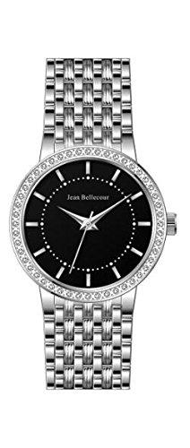 Jean Bellecour reds16 sb Damen Armbanduhr Quarz Analog Zifferblatt schwarz Armband Stahl versilbert