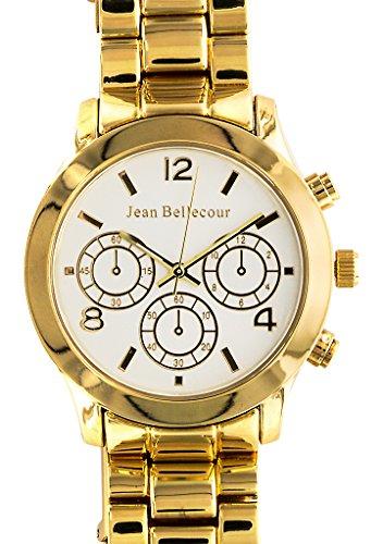 Jean Bellecour reds10 gw Armbanduhr Quarz Analog Weisses Ziffernblatt Armband Stahl vergoldet Gold