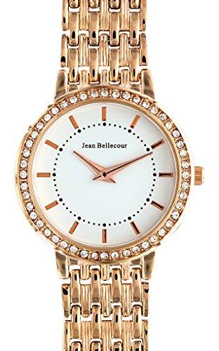Jean Bellecour reds15 rgw Damen Armbanduhr 045J699 Analog weiss Armband Stahl vergoldet rosa