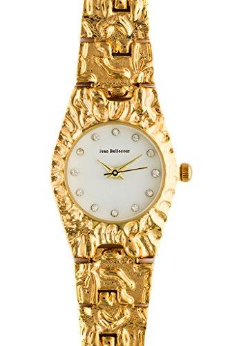 Jean Bellecour reds23 gw Damen Armbanduhr 045J699 Analog weiss Armband Stahl vergoldet Gold