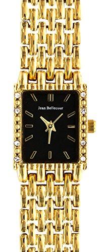 Jean Bellecour reds25 gb Damen Armbanduhr Quarz Analog Zifferblatt schwarz Armband Stahl vergoldet Gold