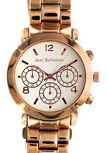Jean Bellecour reds9 rgw Damen Armbanduhr 045J699 Analog weiss Armband Stahl vergoldet rosa