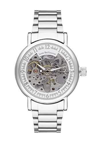 Jean Bellecour REDH1 Tour du Monde Armbanduhr für Herren, Automatik, Analog, Zifferblatt Silber, silberfarbenes Metall-Armband