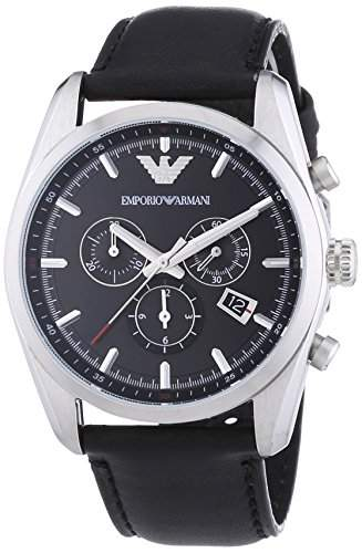 Emporio Armani Herren-Armbanduhr Chronograph Quarz Leder AR6039