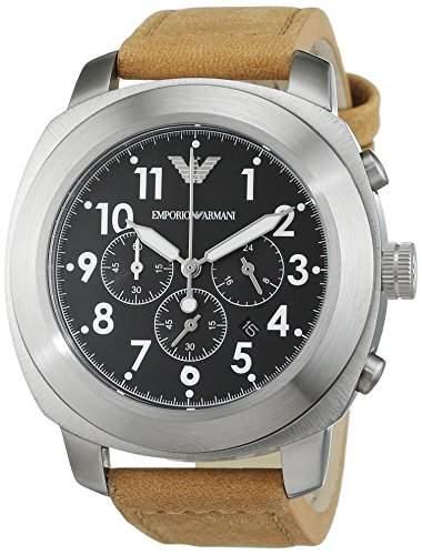 Armani Herren-Armbanduhr Chronograph Quarz Leder AR6060
