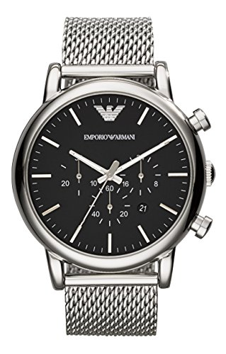Emporio Armani AR1808 LUIGI Chronograph Uhr Edelstahl 50m Analog Chrono Datum schwarz