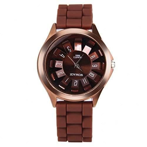 GSPStyle Damen Armbanduhr Silikon Quarz Uhren Blumen Analog Damenuhr Farbe Braun