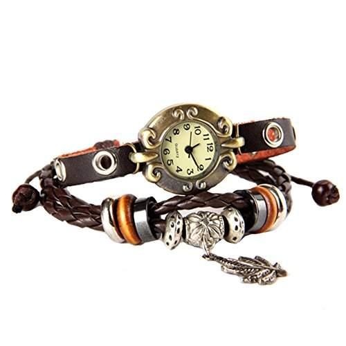 GSPStyle Damen Uhr Leder Damenuhr Blatt-Anhaenger Armbanduhr Armreif Quarzuhr Farbe Braun