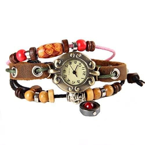 GSPStyle Damen Uhr Lederuhr Damenuhr Kugel-Anhaenger Armbanduhr Armreif Quarzuhr Farbe Braun