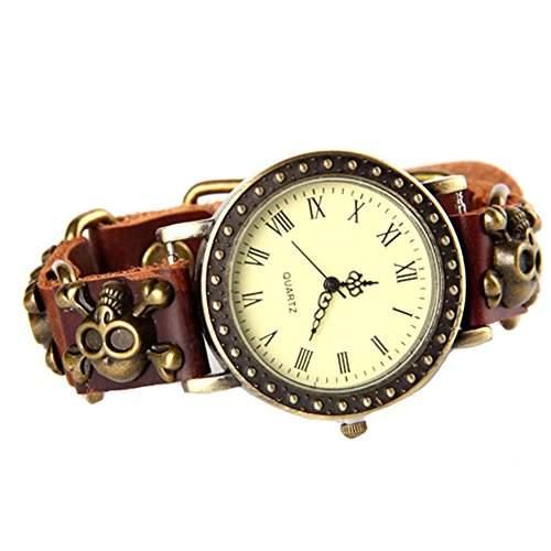 GSPStyle Unisex Leder Damenuhr Skull Stil Quarz Herrenuhr Armbanduhr Quarzuhr Farbe Braun