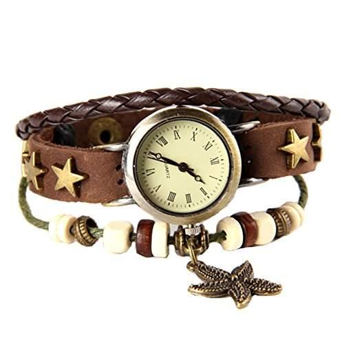 GSPStyle Damen Uhr Lederuhr Damenuhr Seesterne-Anhaenger Armbanduhr Quarzuhr Farbe Braun