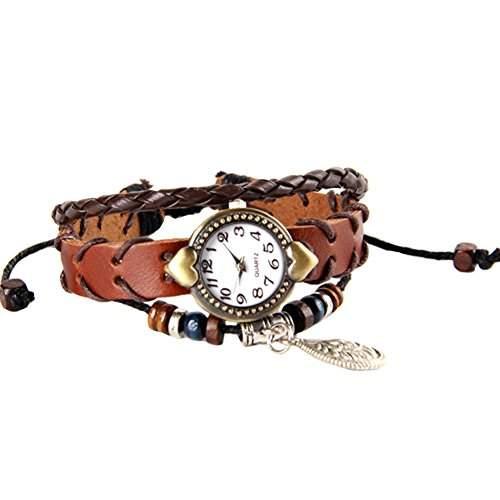 GSPStyle Damen Uhr Lederuhr Damenuhr Fallen-Anhaenger Armbanduhr Quarzuhr Farbe Braun
