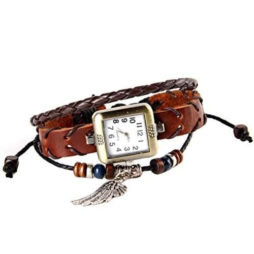 GSPStyle Damen Uhr Lederuhr Damenuhr Fluegel-Anhaenger Armbanduhr Maedchen Quarzuhr Farbe Braun