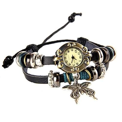 GSPStyle Damen Uhr Leder Damenuhr Schmetterling-Anhaenger Armbanduhr Quarzuhr Farbe Schwarz